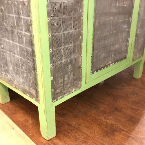 1930s English Green Painted Pine Meat Food Cupboard image-5