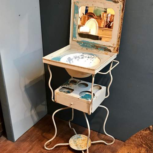 Vintage French Metal Washstand image-1