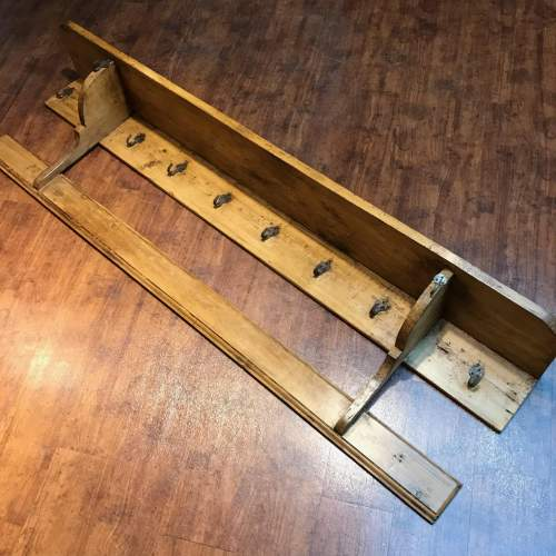 1930s French Pine Pot Rack with Back Board image-1