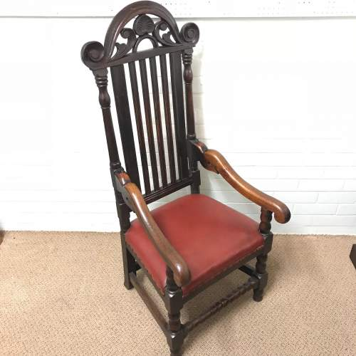 18th Century Carved Oak Carver Chair image-1
