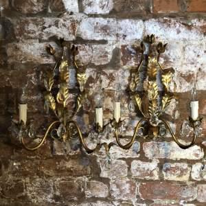 Pair of Italian Gilt Wall Lamps