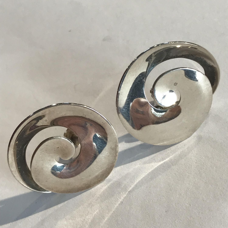 Georg Jensen Denmark Sterling Silver Swirl Earrings