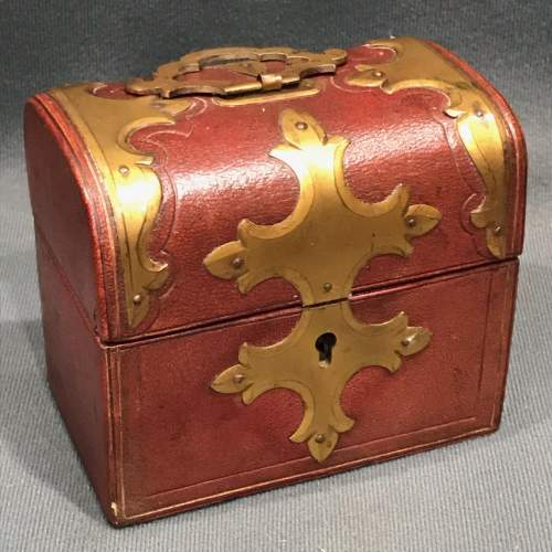 Victorian Red Leather Ink Box image-4