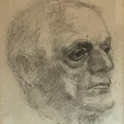 Original 20th Century Pencil Portrait of a Man image-2