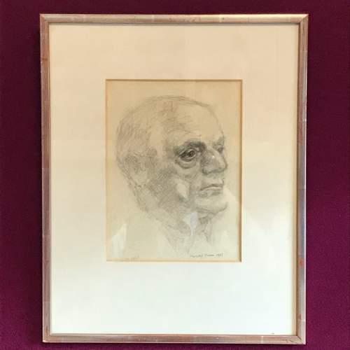 Original 20th Century Pencil Portrait of a Man image-1