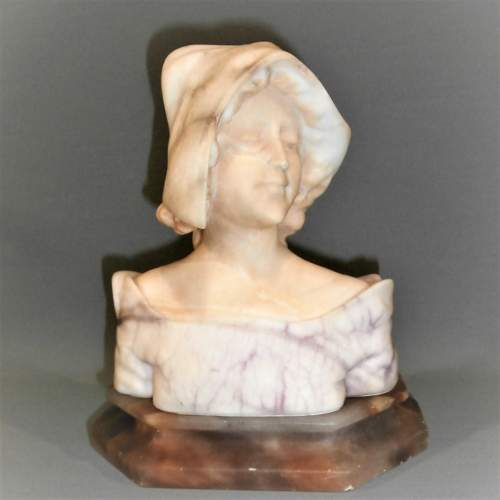 An Elegant Early 20th Century Viennese Alabaster Bust of a Young Lady image-2