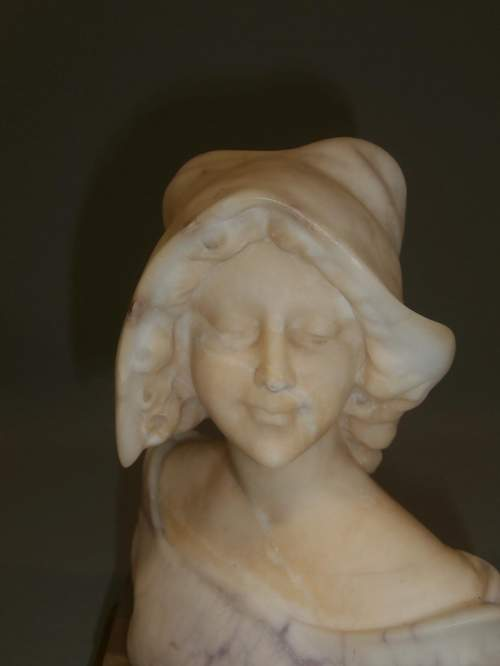 An Elegant Early 20th Century Viennese Alabaster Bust of a Young Lady image-6