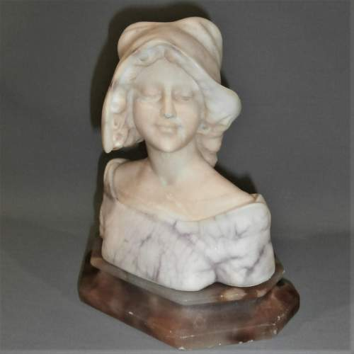 An Elegant Early 20th Century Viennese Alabaster Bust of a Young Lady image-1