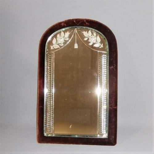 Edwardian Petite Etched and Moulded Looking Glass Mirror image-1
