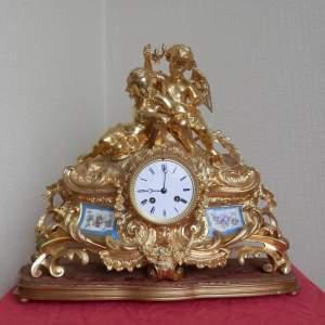 French Gilded Bronze Ormolu Clock