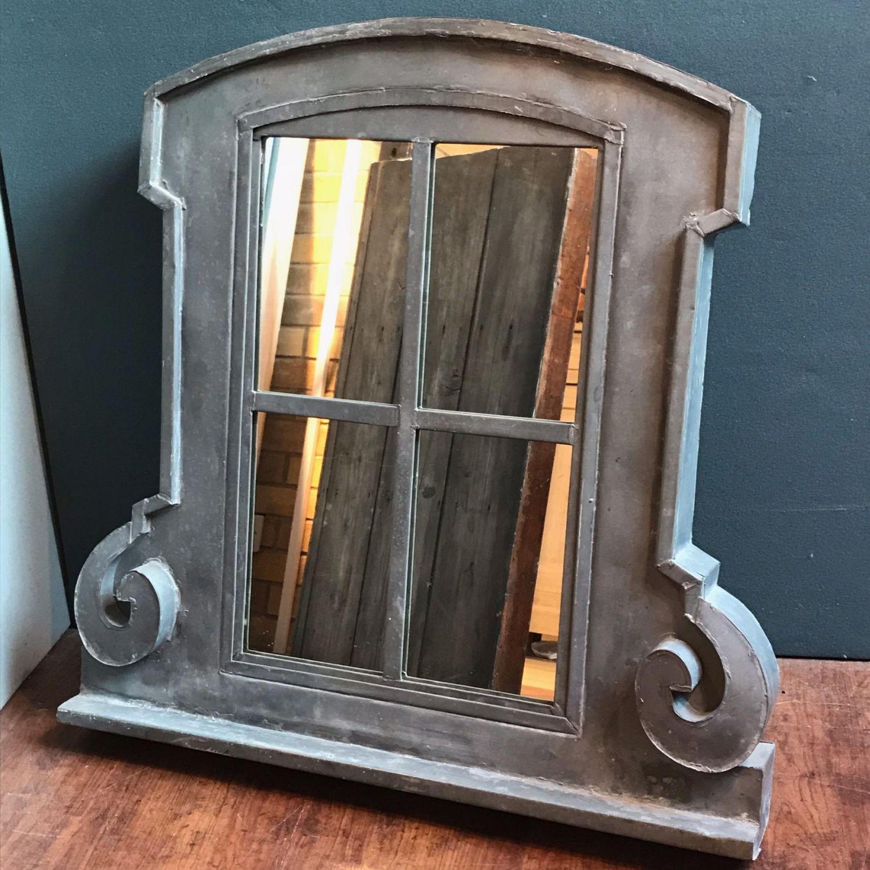 1900s French Zinc Window Frame Mirror