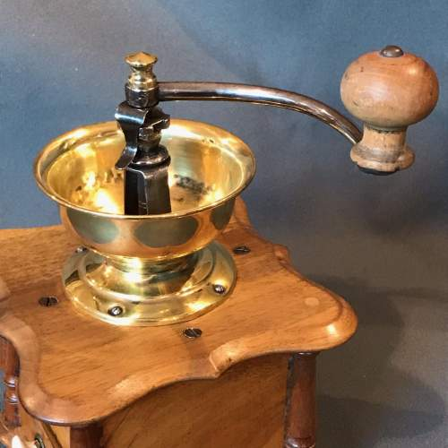 1930s French Wood and Brass Coffee Grinder image-2