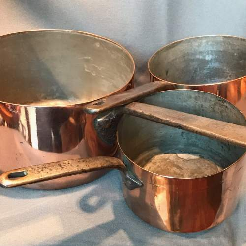 Set of Three Victorian Copper Saucepans image-1