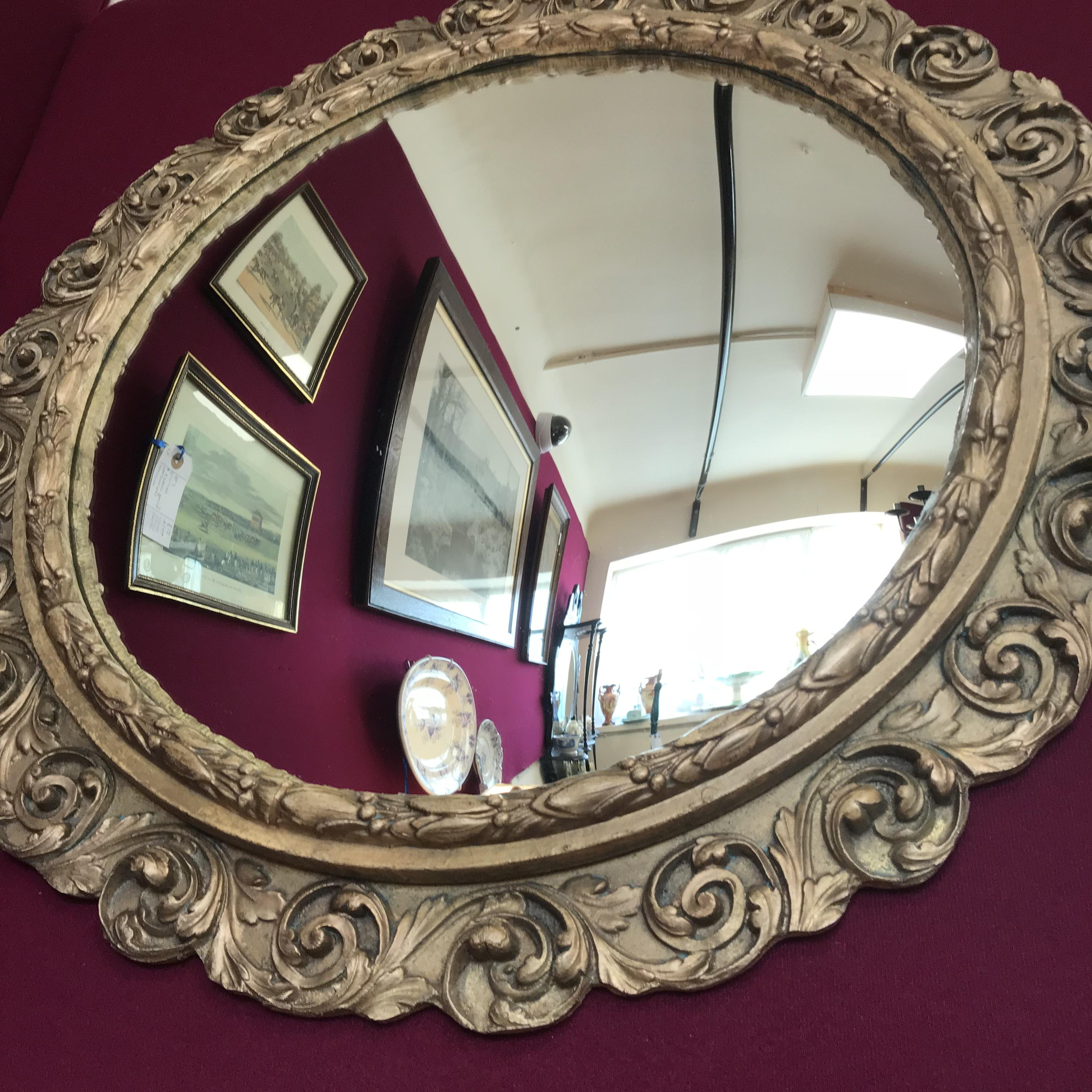 Vintage Baroque Style Convex Mirror Antique Mirrors