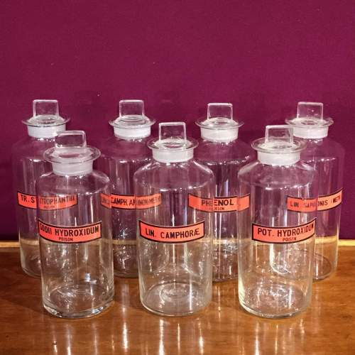Set of Seven Glass Apothecary Jars With Various Labels image-1
