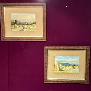 Pair of Watercolours of Harvest Scenes by Chris Meadows