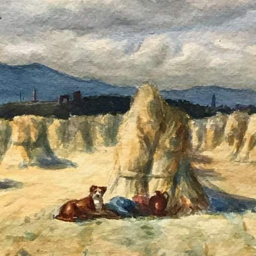 Pair of Watercolours of Harvest Scenes by Chris Meadows image-6