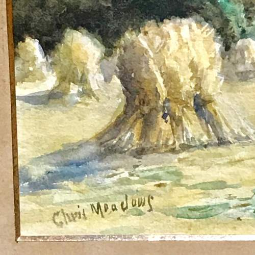 Pair of Watercolours of Harvest Scenes by Chris Meadows image-4