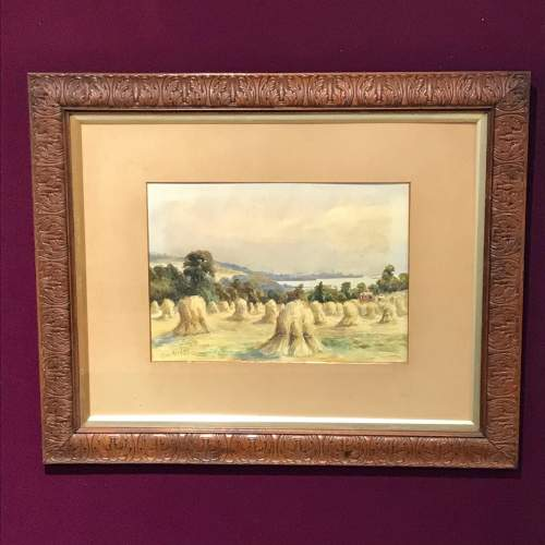 Pair of Watercolours of Harvest Scenes by Chris Meadows image-2