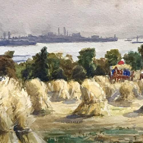 Pair of Watercolours of Harvest Scenes by Chris Meadows image-5