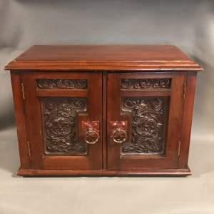 Art Nouveau Mahogany Coin Collectors Cabinet