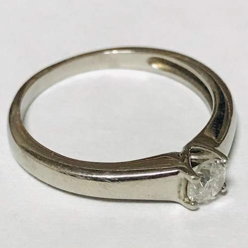 18ct White Gold Diamond Solitaire Ring image-1