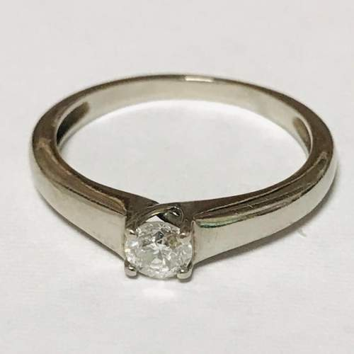 18ct White Gold Diamond Solitaire Ring image-2