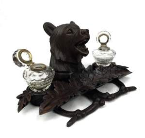 19th Century Black Forest Bear Double Inkwell