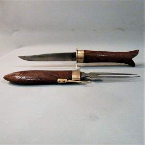 Intricately Carved Indian Carving Knife and Fork Shaped as a Fish