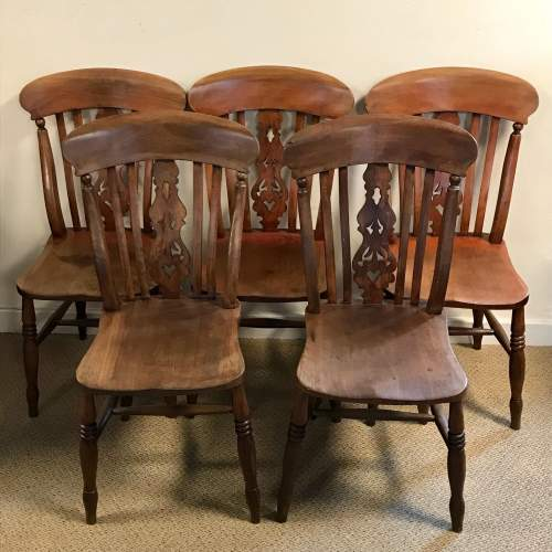 A Good Set Of Five Late 19th Century Country Chairs image-1