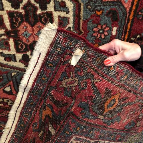 Old Hand Knotted Persian Rug Hamadan image-5