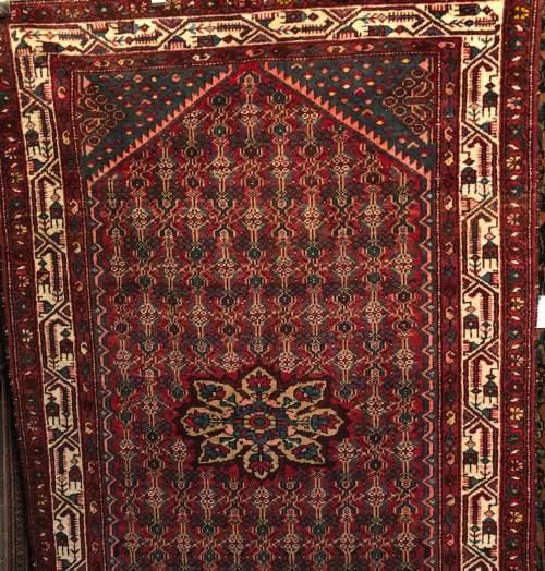 Old Hand Knotted Persian Rug Hamadan Region image-1