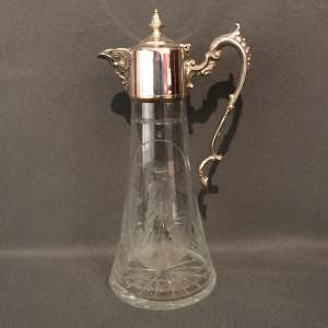 Silver Plate and Glass Claret Jug