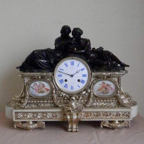 19th Century Silvered Bronze French Mantel Clock image-1