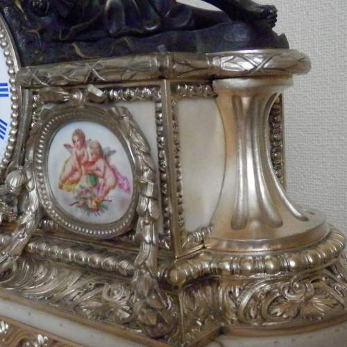 19th Century Silvered Bronze French Mantel Clock image-2
