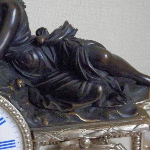 19th Century Silvered Bronze French Mantel Clock image-4