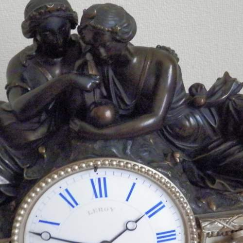 19th Century Silvered Bronze French Mantel Clock image-6