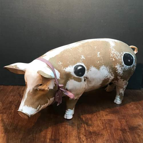 Large Vintage Belgian Pottery Butchers Shop Pig image-1