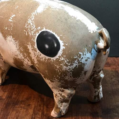 Large Vintage Belgian Pottery Butchers Shop Pig image-3