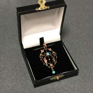 Art Nouveau Gold Turquoise Pendant