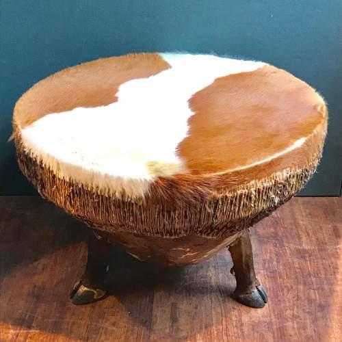 Large Cowhide Drum Coffee Table image-1