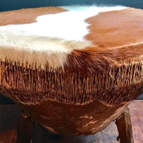 Large Cowhide Drum Coffee Table image-4