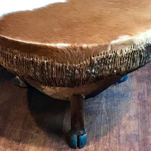 Large Cowhide Drum Coffee Table image-5