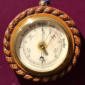 Light Oak Rope Twist Aneroid Barometer