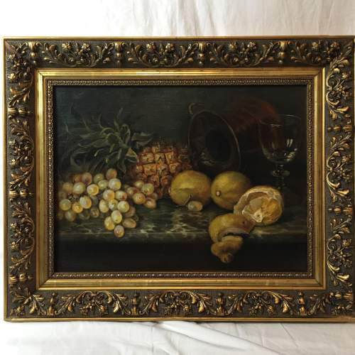 Fine Old 20th Century Still Life Oil Painting Of Mixed Fruit image-1