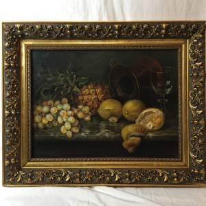 Fine Old 20th Century Still Life Oil Painting Of Mixed Fruit