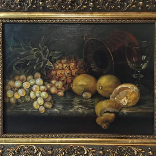 Fine Old 20th Century Still Life Oil Painting Of Mixed Fruit image-2