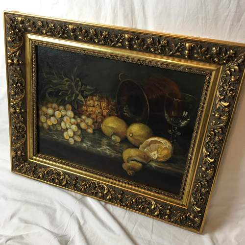Fine Old 20th Century Still Life Oil Painting Of Mixed Fruit image-5