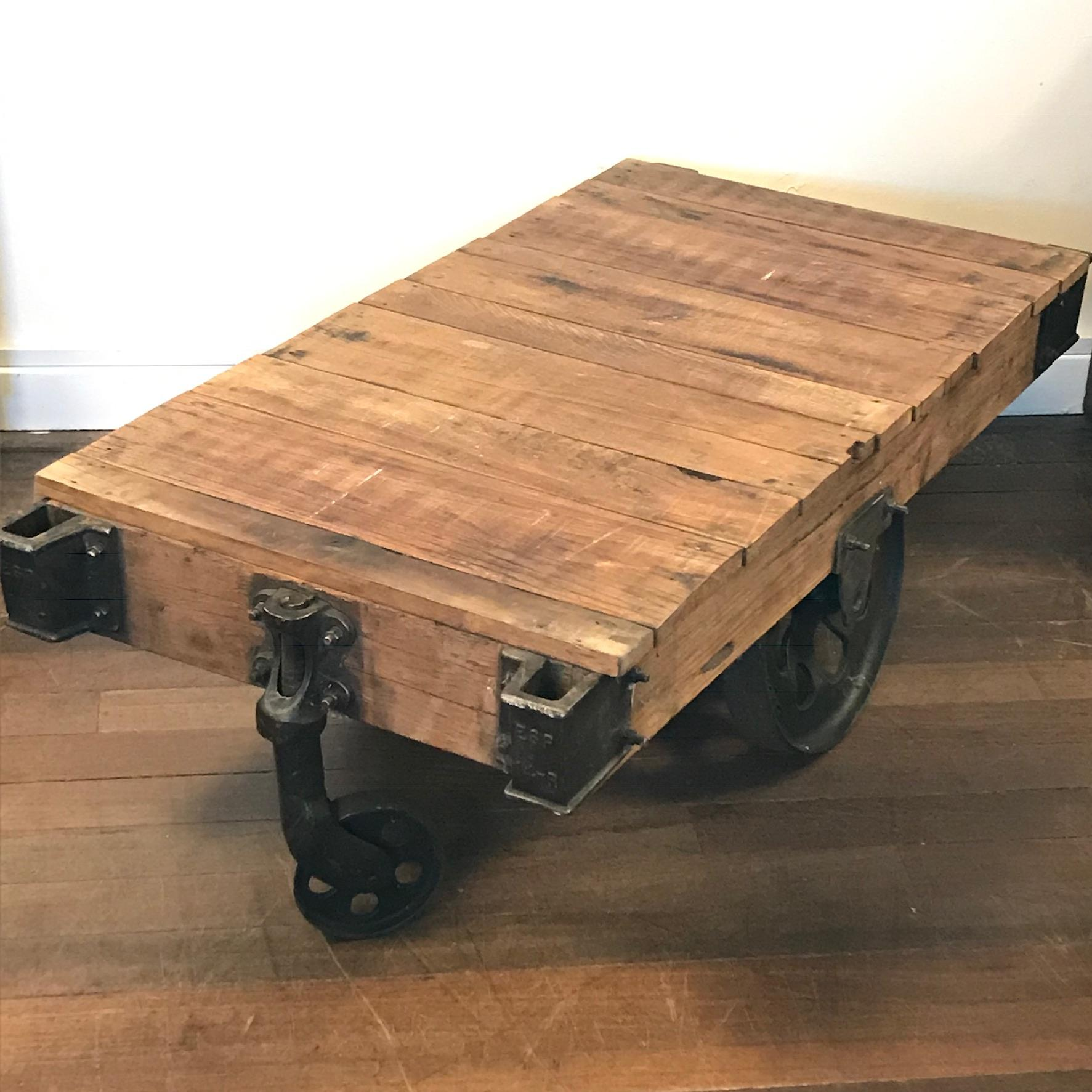 Upcycled Vintage Industrial Trolley Coffee Table