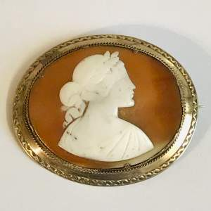 Victorian Silver Shell Cameo Brooch